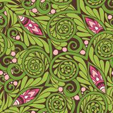 Seamless floral vintage pattern in spring green and pink colors. Stock Photography