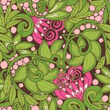 Seamless floral vintage pattern in spring green and pink colors. Royalty Free Stock Images
