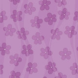 Seamless floral violet pattern with soft waves Stock Photography