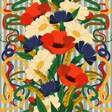Seamless floral wallpaper in art nouveau style Royalty Free Stock Image