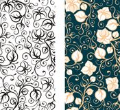 Seamless floral wallpaper background. For design, wallpaper, frieze, cover with floral ornaments Stock Photo