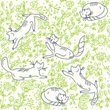 Seamless floral wallpaper with cats vector illustration