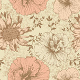 Seamless floral wallpaper, hand-drawing. Vector. Royalty Free Stock Photo