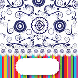 Seamless floral wallpaper and Rainbow Lines Royalty Free Stock Images