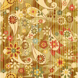 Seamless floral wallpaper on striped background Royalty Free Stock Image