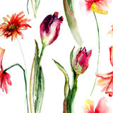 Seamless floral wallpapers with Poppy and Tulip and Gerber. Seamless floral wallpapers with Poppy and Tulip and Gerber flowers, Watercolor painting Royalty Free Stock Image