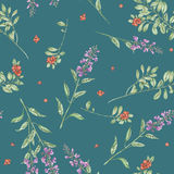 Seamless floral watercolor cowberry and salvia flowers pattern. Seamless floral pattern with cowberry and salvia flowers, hand drawn in watercolor on a green Royalty Free Stock Photos