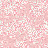 Seamless floral white lace pattern. Repeating background. Stock Photography