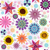 Seamless Floral White Pattern. With vivid flowers Stock Photo