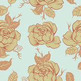 Seamless floralpeony  vector pattern in tatto style Stock Photo