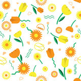 Seamless florals pattern background with cute florals vector des Stock Photo
