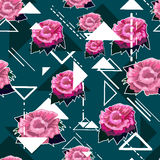Seamless florals pattern background with pink roses  Royalty Free Stock Photos