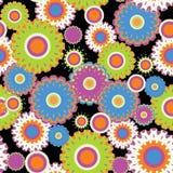 Seamless flourish circle. With black background stock illustration