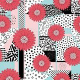 Seamless abstract background. Seamless flower abstract background-vector illustration. Pattern from pieces of different textures. Patchwork Royalty Free Illustration