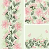 Seamless flower background set in vector Stock Photos