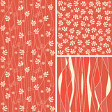 Seamless flower background set in vector Stock Image