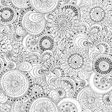Seamless flower black and white retro background Stock Photo