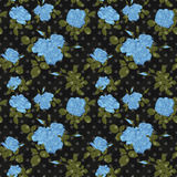 Seamless flower blue roses pattern on black Royalty Free Stock Image
