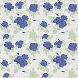Seamless flower blue roses pattern on white Royalty Free Stock Photography