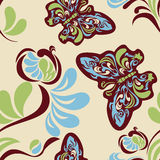 Seamless flower and butterfly pattern Stock Photos