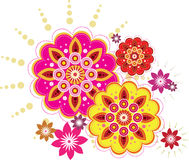 Seamless flower. Colourful blossom flower set graphic style Royalty Free Stock Image