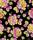 Seamless flower digital effect with black background vector illustration
