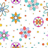 Seamless flower and dot pattern Stock Images