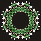 Seamless flower emerald, silver and gold fashion print shine Stock Photography