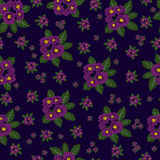 flowers  background. Seamless pattern of large and small bouquet of violet flowers arranged on rosettes green leaf Stock Image