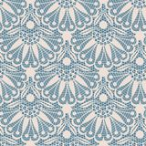 Seamless flower lace pattern. On blue background Royalty Free Stock Image