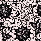 Seamless flower lace pattern. On pink background Royalty Free Stock Photography