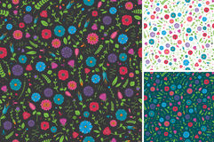 Seamless Flower and Leaf Pattern. In three colors. Easy to edit Royalty Free Stock Image