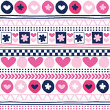 Seamless flower and love aztec pattern vector illustration Royalty Free Stock Photos