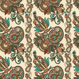 Seamless flower paisley design Royalty Free Stock Photo