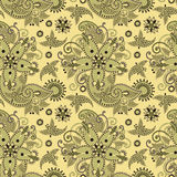 Seamless flower paisley design background Stock Photography