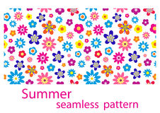 Seamless flower pattern. Summer or spring seamless flower pattern, vector illustration Stock Photos