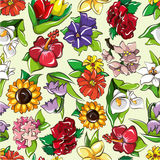 Seamless flower pattern. Vector drawing Stock Photo