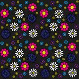 Seamless flower pattern. Timeless floral pattern. Playful, colourful and simple. Blue, pink, purple, yellow and blue flowers on black background Royalty Free Stock Photo