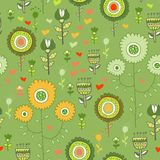 Seamless flower pattern background in vector Stock Image