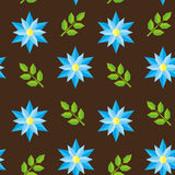 Seamless flower pattern. Seamless pattern with blue flowers and green leaves Stock Photo