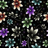 Seamless Flower Pattern. A seamless pattern of bright flowers on a black background with shining stars Royalty Free Stock Photography