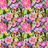 Seamless flower pattern with butterfly Stock Photos