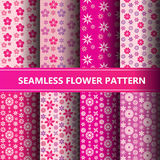 Seamless flower pattern collection. Eps10 Stock Image