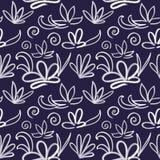 Seamless flower pattern on dark blue background royalty free illustration