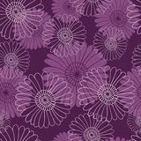 Seamless flower pattern on dark violet background. Royalty Free Stock Photos