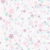 Seamless flower pattern. Flat flowers of pastel colors on white background. Cute Vector wedding illustration. Spring romantic wallpaper Royalty Free Stock Image