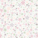 Seamless flower pattern. Flat flowers of pastel colors on white background. Cute Vector wedding illustration. Spring romantic wallpaper Royalty Free Stock Photography