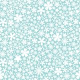 Seamless flower pattern. Flat white flowers of on powder blue background. Cute Vector wedding illustration. Spring and summer romantic wallpaper Royalty Free Stock Photos