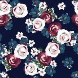 Seamless flower pattern on navy. A fabric cloth Seamless flower pattern on navy red flower royalty free illustration