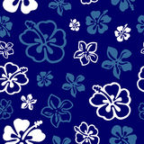 Seamless flower pattern over blue royalty free illustration